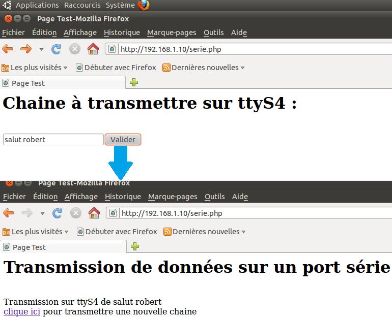Envoie de données sur le port série en php